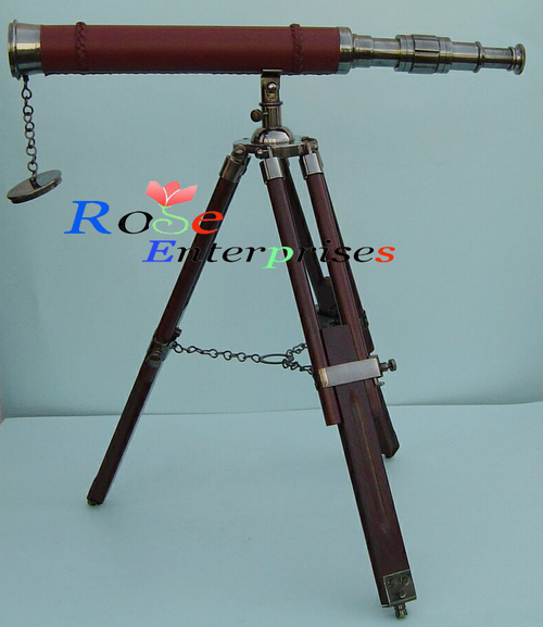 Antique Nautical Brass Telescope with Tripod Stand