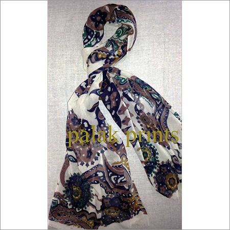 Silk Wool Screen Printed Scarf