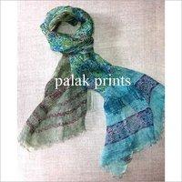 Linen Designer Block  Print Scarve