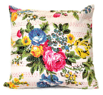 White Handmade Kantha Pillow