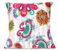 White Kantha Pillow