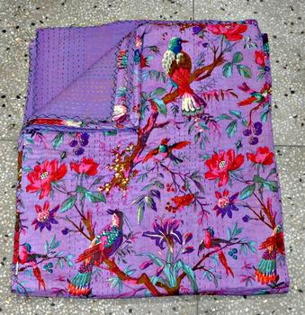 Indian Cotton Sari Kantha Quilt in Purple