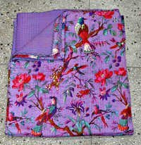 Indian Cotton Sari Kantha Quilt in Purple