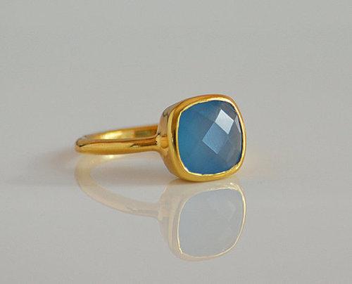 925 Sterling Silver Blue Chalcedony Gemstone Ring