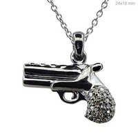 Sterling Silver Diamond Gun Pendant