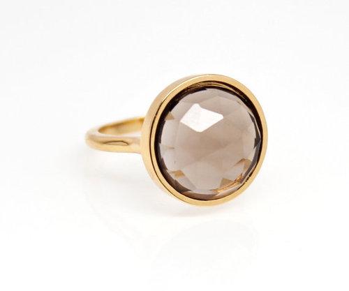 925 sterling Silver Smoky Topaz gemstone Ring- vemeil gold