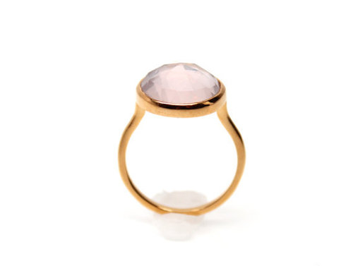 925 sterling Silver Rose Quartz Gemstone Ring- vemeil gold
