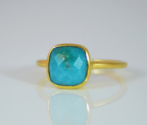 925 sterling Silver Man-Made Turquoise Gemstone Ring- vemeil gold