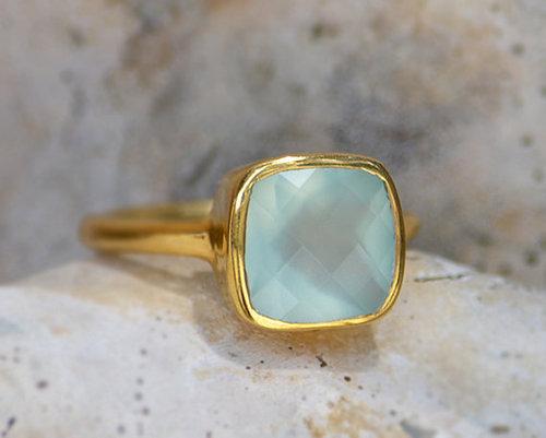 925 sterling Silver Aqua Chalcedony Gemstone Ring- vemeil gold