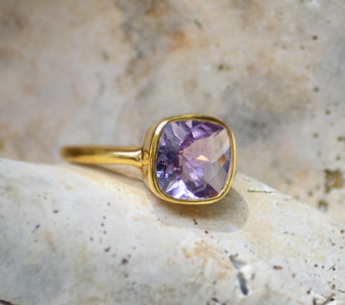 925 sterling Silver Amethyst Gemstone Ring- vemeil gold