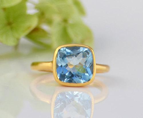 925 sterling Silver Hydro London Blue Topaz Gemstone Ring- vemeil gold