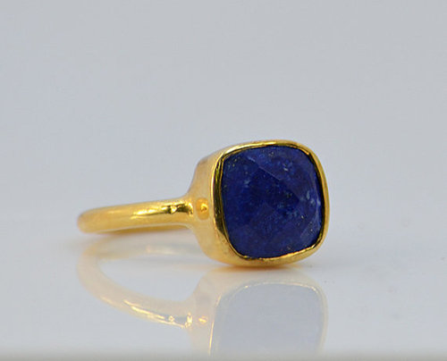 925 sterling Silver Lapis Lazuli Gemstone Ring- vemeil gold