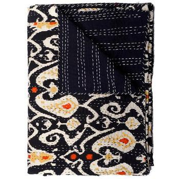 Indian Cotton Sari Ikat Kantha Quilt
