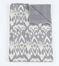 Ikat Kantha Quilt in Gray