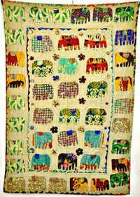 Handmade Patchwork Elephant Kantha Quilt