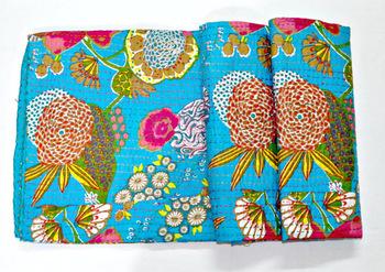 Turquoise Sari Kantha Quilt