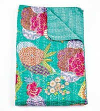 Queen Kantha Quilt in Turquoise Green