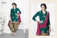 Unstitched Embroidered Patiala Salwar Kameez