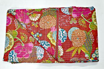 Queen Cotton Sari Kantha Quilt