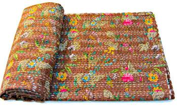 Kantha Quilt in Brown