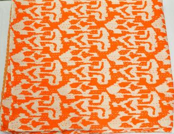 Indian Sari Ikat kantha Quilt in Orange
