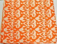 Indian Sari Ikat kantha Quilt in Orange