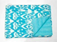 Indian Ikat kantha Quilt in Turquoise