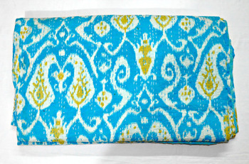 Ikat Kantha Quilt in Turquoise