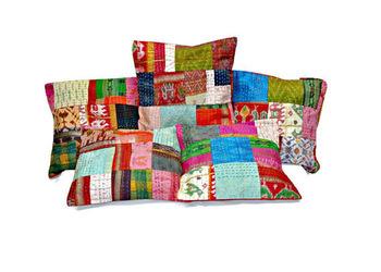 5pc Indian Silk Sari Kantha cover