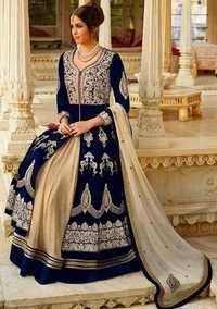 Ladies Blue Multi Emb Lahenga