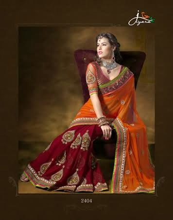 Pure Georgette Heavy Work Sarees
