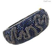 Blue Sapphire Diamond Gold Bangle