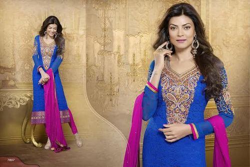 Pink & Blue Straight Cut Salwar Kameez