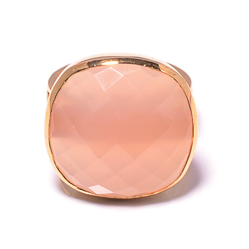 925 Sterling silver Pink Chalcedony Gemstone Ring- Vemeil Gold