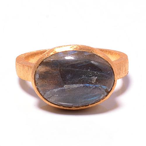 925 Sterling silver Labradorite Gemstone Ring- Vemeil Gold