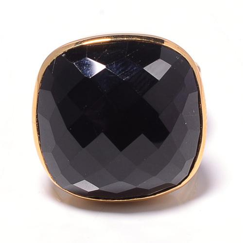 925 Sterling silver Black Onyx Gemstone Ring- Vemeil Gold