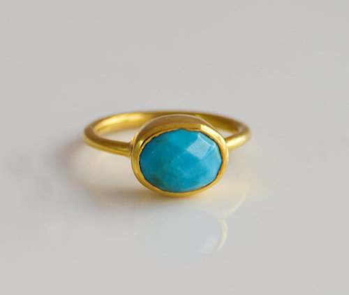 925 Sterling silver Turquoise Gemstone Ring- Vemeil Gold
