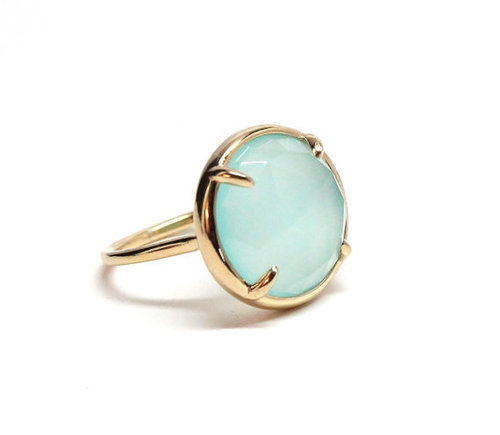 925 Sterling silver Aqua Chalcedony Gemstone Ring- Vemeil Gold