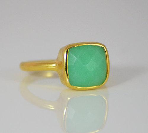 925 Sterling silver Chalcedony Gemstone Ring- Vemeil Gold