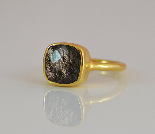 925 Sterling silver Black Rutile Gemstone Ring- Vemeil Gold