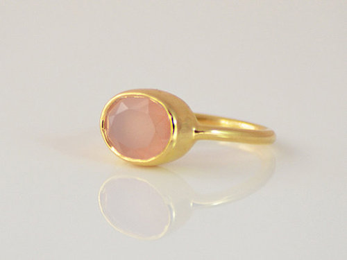 925 Sterling silver Rose Quartz Gemstone Ring- Vemeil Gold