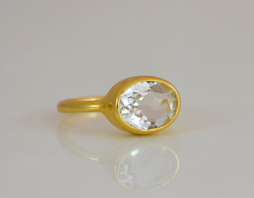 925 Sterling silver White Topaz Gemstone Ring- Vemeil Gold