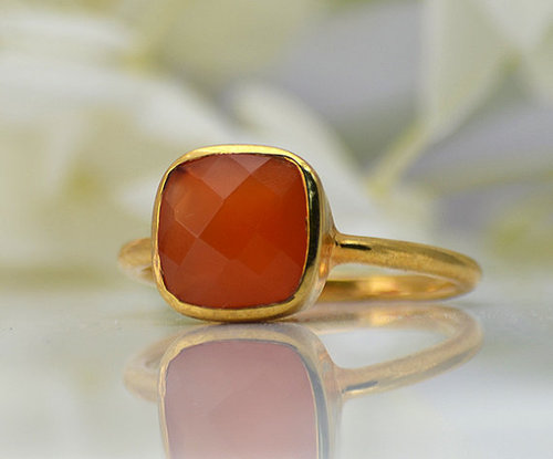 925 Sterling silver Carnelian Gemstone Ring- Vemeil Gold