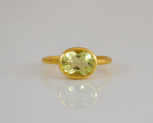 925 Sterling silver Peridot Gemstone Ring- Vemeil Gold