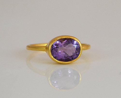 925 Sterling silver Green Amethyst Gemstone Ring- Vemeil Gold