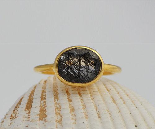 925 Sterling silver Black Rutile Gemstone Ring- Vemeil Gold