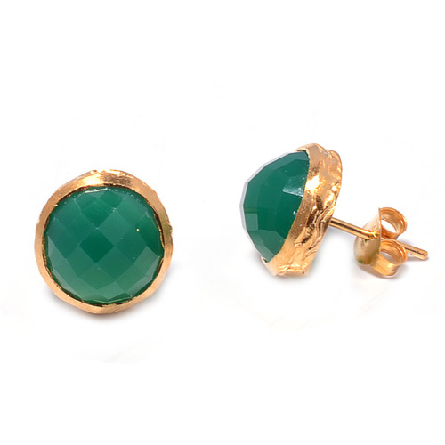 925 sterling Silver Bezel Set Green Onyx Gemstone Stud Earring-Gold Vermeil