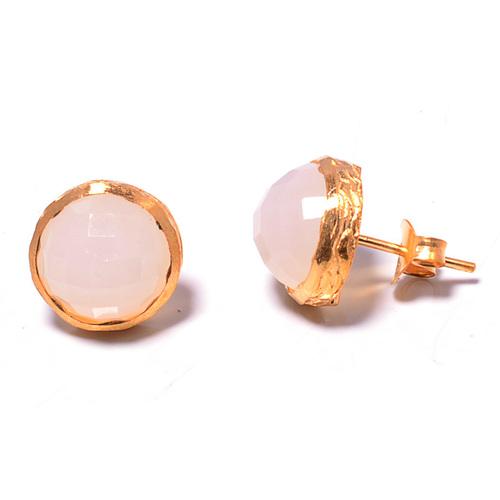 925 sterling Silver Bezel Set Pink Chalcedony Gemstone Stud Earring-Gold Vermeil