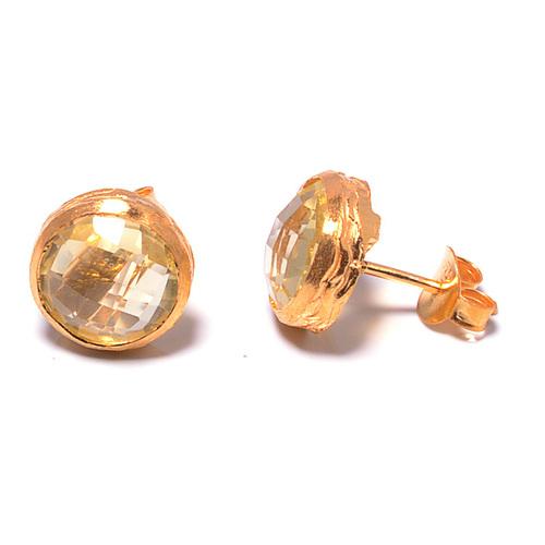 925 sterling Silver Bezel Set Golden Topaz Gemstone Stud Earring-Gold Vermeil