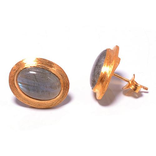 925 sterling Silver Bezel Set Labradorite Gemstone Stud Earring-Gold Vermeil